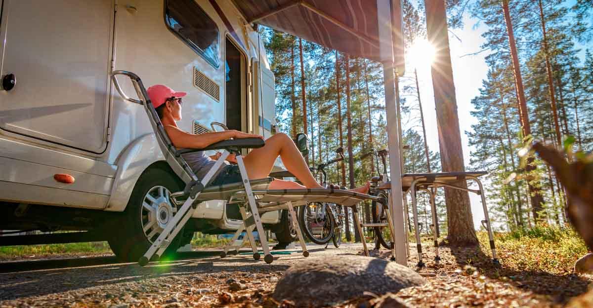 woman camping RV