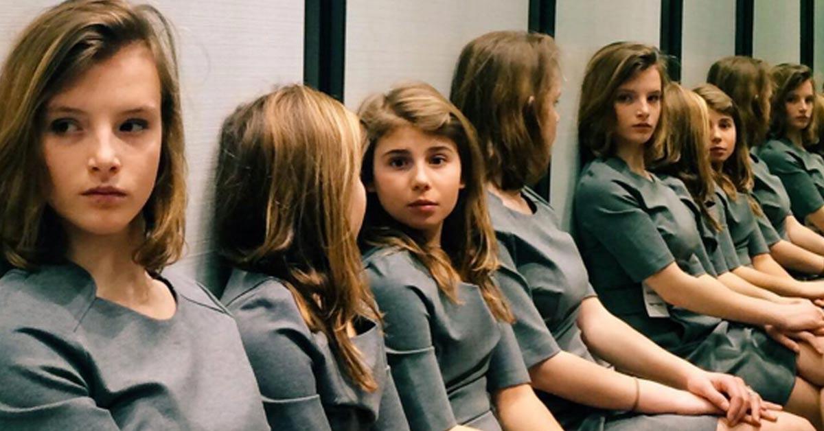 optical illusion multiple girls