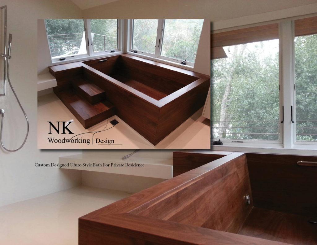 steps, wooden, rectangle bath, trees, windows