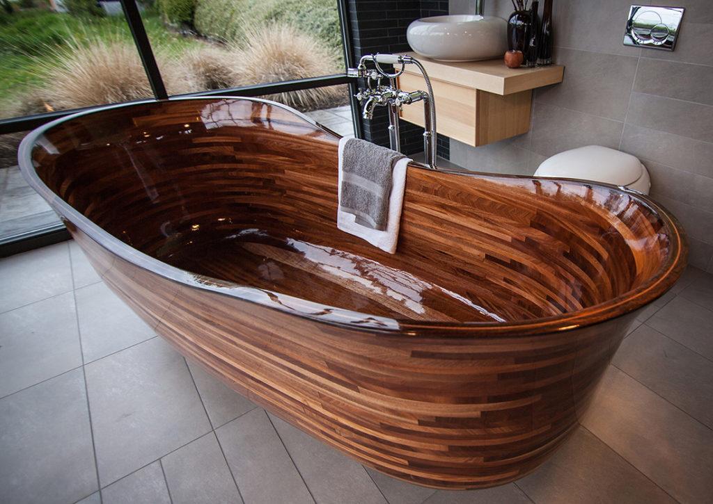 wooden bathtub, bathroom, towel, grass