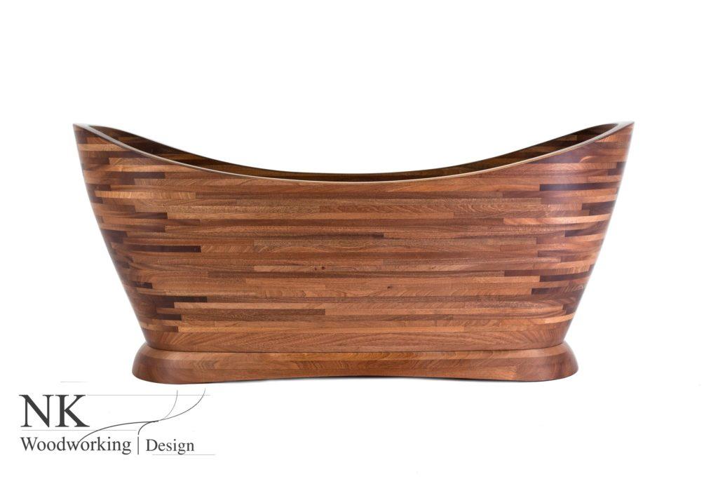 curved, wooden bathtub