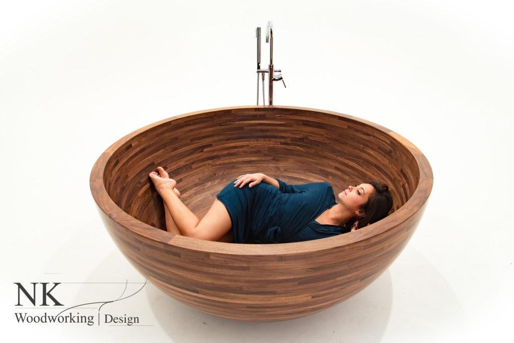 round, wooden, bathtub, woman