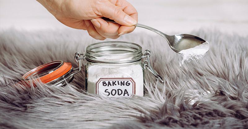 baking soda on a rug