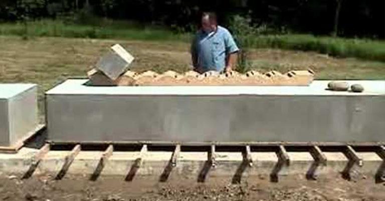 man moving a 20 ton block