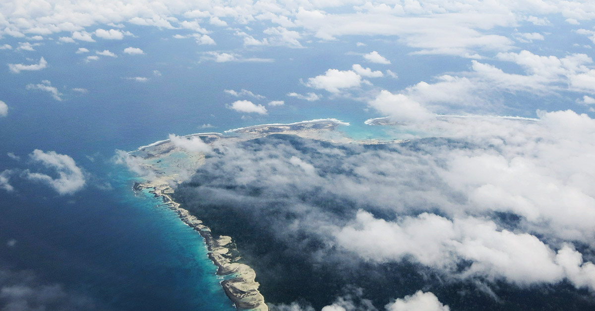 North Sentinel Island seen from the sky